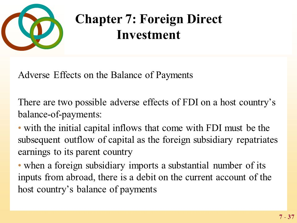 7 - 37 Chapter 7: Foreign Direct Investment Adverse Effects on the Balance of Payments There are two possible adverse effects of FDI on a host country