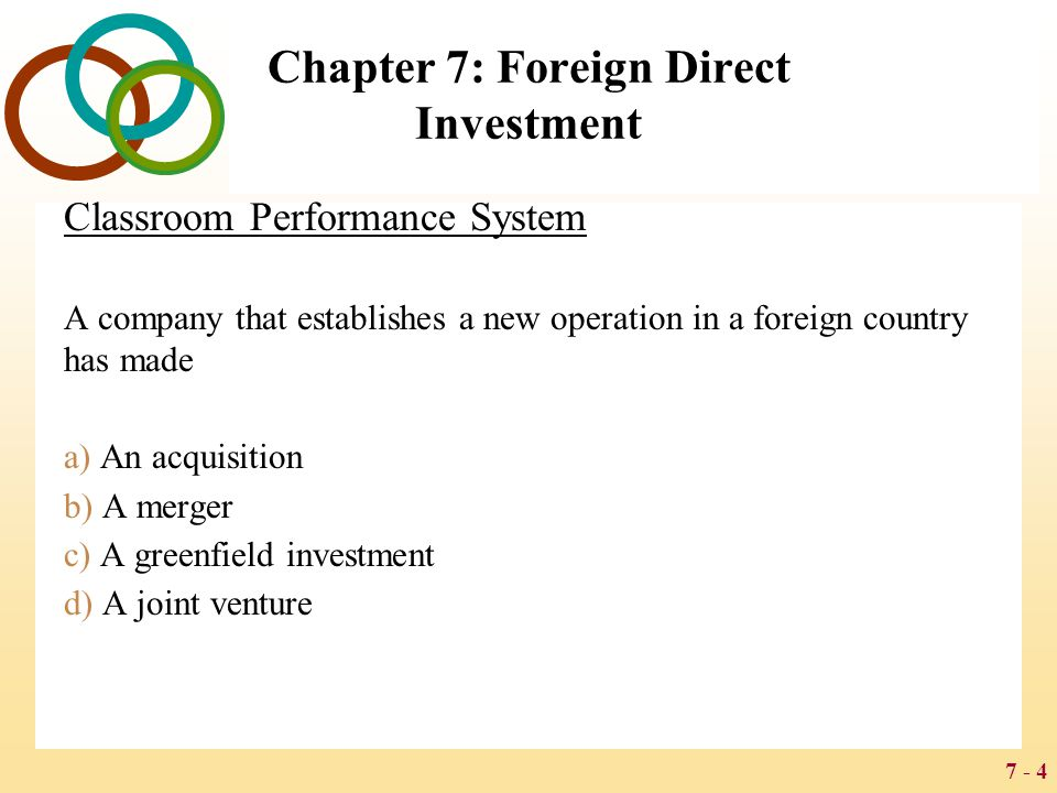 7 - 5 Chapter 7: Foreign Direct Investment FOREIGN DIRECT INVESTMENT IN THE WORLD ECONOMY The flow of FDI refers to the amount of FDI undertaken over a given time period The stock of FDI refers to the total accumulated value of foreign-owned assets at a given time Outflows of FDI are the flows of FDI out of a country Inflows of FDI are the flows of FDI into a country