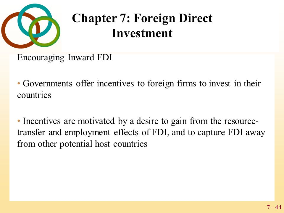 7 - 44 Chapter 7: Foreign Direct Investment Encouraging Inward FDI Governments offer incentives to foreign firms to invest in their countries Incentiv