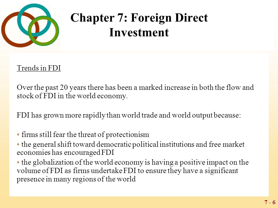 7 - 27 Chapter 7: Foreign Direct Investment The Free Market View The free market view argues that international production should be distributed among countries according to the theory of comparative advantage The free market view has been embraced by a number of advanced and developing nations, including the United States, Britain, Chile, and Hong Kong