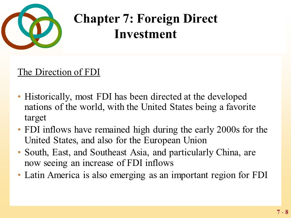 7 - 29 Chapter 7: Foreign Direct Investment BENEFITS AND COSTS OF FDI Host Country Benefits The main benefits of inward FDI for a host country are: the resource transfer effect the employment effect the balance of payments effect effects on competition and economic growth