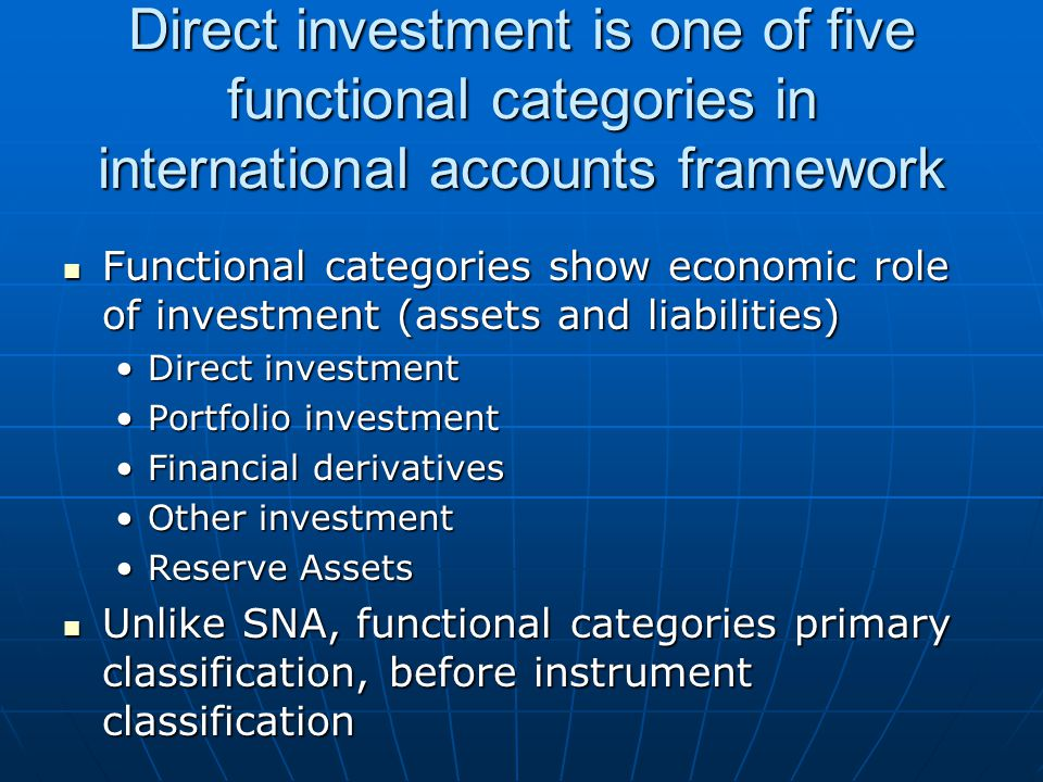 Direct investment is one of five functional categories in international accounts framework Functional categories show economic role of investment (assets and liabilities) Functional categories show economic role of investment (assets and liabilities) Direct investmentDirect investment Portfolio investmentPortfolio investment Financial derivativesFinancial derivatives Other investmentOther investment Reserve AssetsReserve Assets Unlike SNA, functional categories primary classification, before instrument classification Unlike SNA, functional categories primary classification, before instrument classification