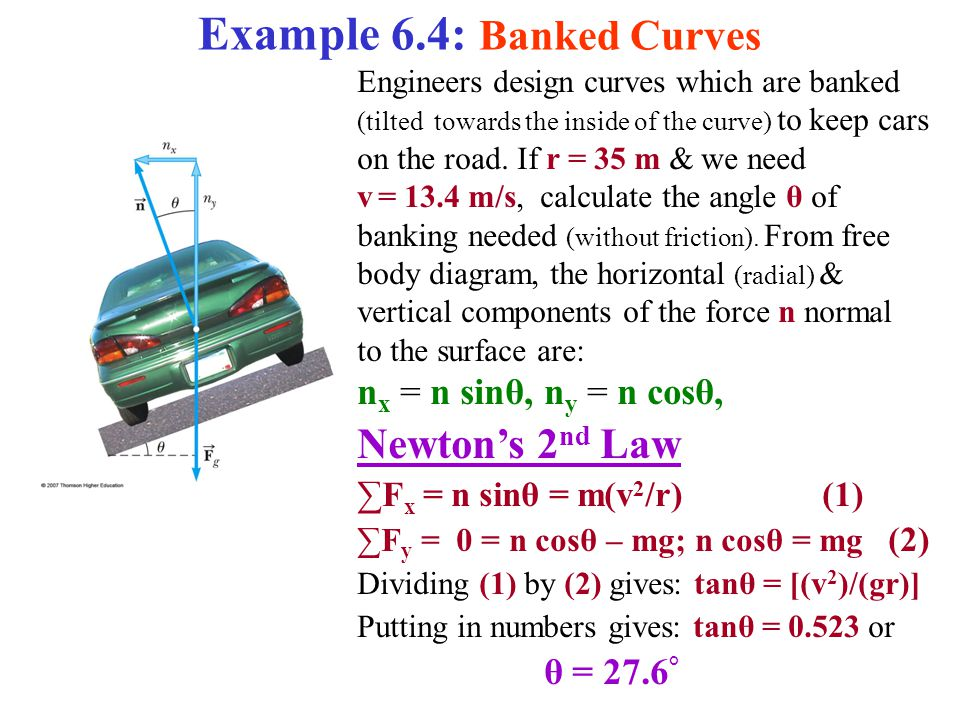 Example 6.4: Banked Curves Engineers design curves which are banked (tilted towards the inside of the curve) to keep cars on the road.