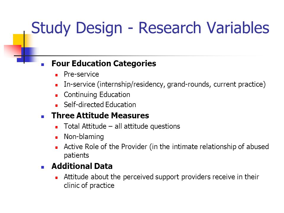 Study Design - Research Variables Four Education Categories Pre-service In-service (internship/residency, grand-rounds, current practice) Continuing E