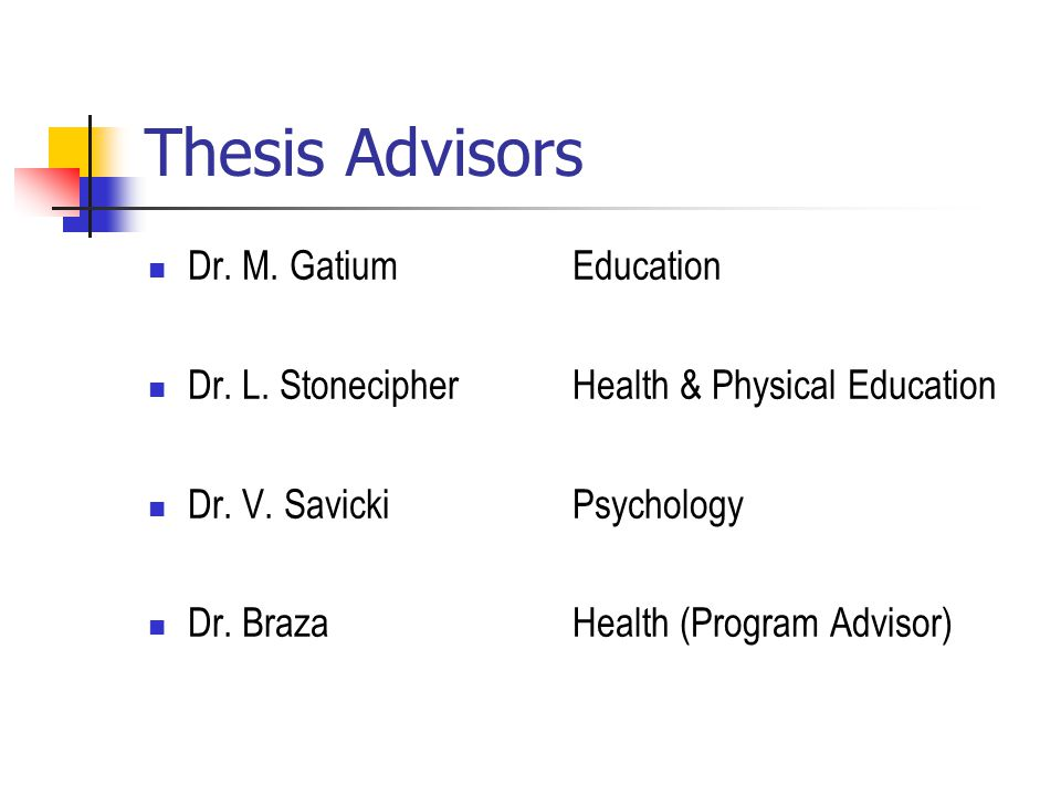 Thesis Advisors Dr. M. Gatium Education Dr. L. Stonecipher Health & Physical Education Dr.