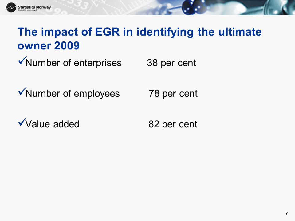 77 The impact of EGR in identifying the ultimate owner 2009 Number of enterprises 38 per cent Number of employees 78 per cent Value added 82 per cent