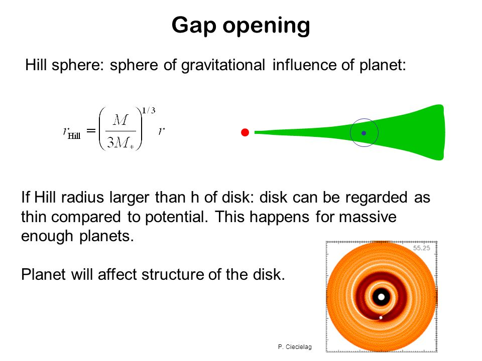 Gap opening Hill sphere: sphere of gravitational influence of planet: If Hill radius larger than h of disk: disk can be regarded as thin compared to potential.