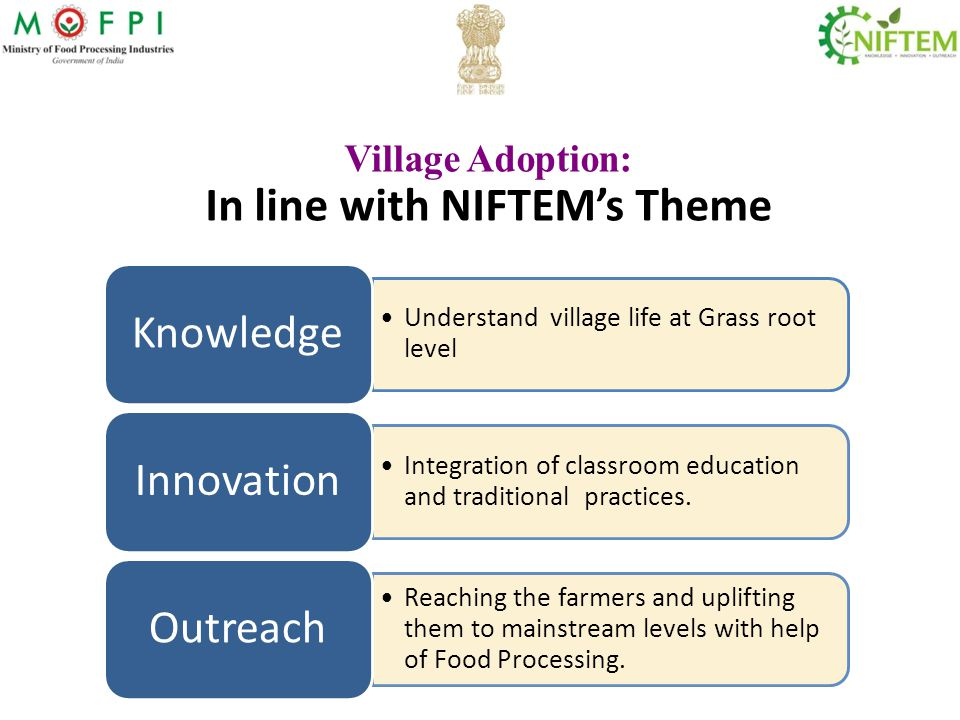 Village Adoption: In line with NIFTEM's Theme Understand village life at Grass root level Knowledge Integration of classroom education and traditional practices.