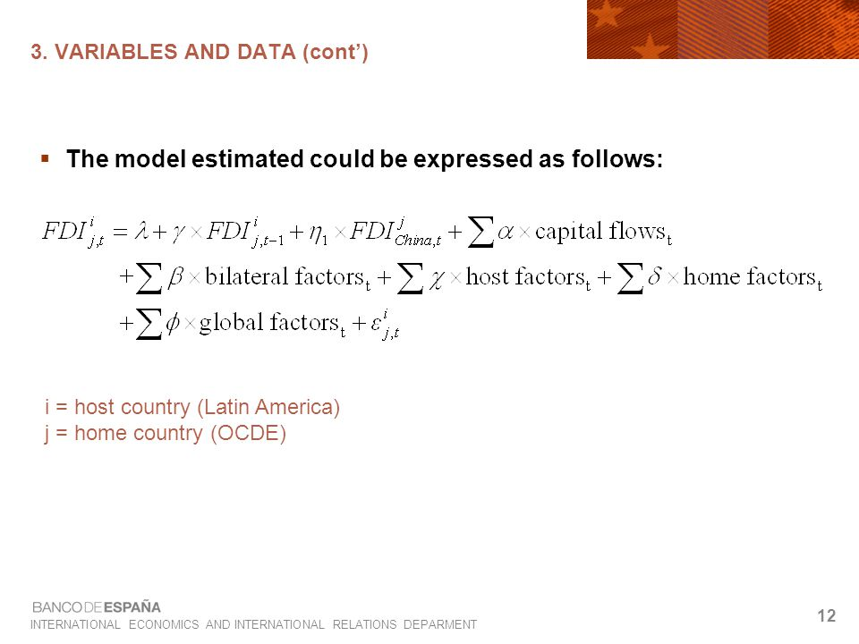INTERNATIONAL ECONOMICS AND INTERNATIONAL RELATIONS DEPARMENT 12 3. VARIABLES AND DATA (cont')  The model estimated could be expressed as follows: i