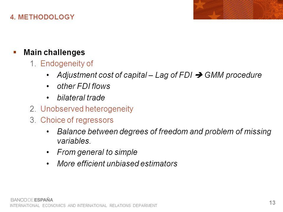 INTERNATIONAL ECONOMICS AND INTERNATIONAL RELATIONS DEPARMENT 13 4. METHODOLOGY  Main challenges 1.Endogeneity of Adjustment cost of capital – Lag of