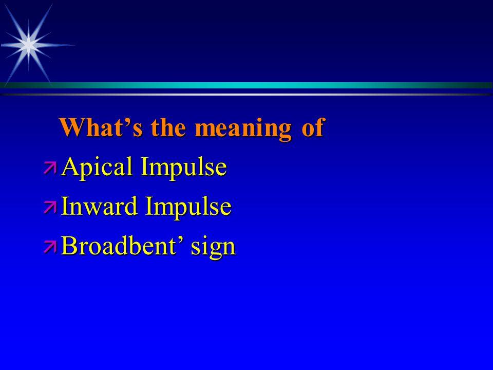 What's the meaning of What's the meaning of ä Apical Impulse ä Inward Impulse ä Broadbent' sign
