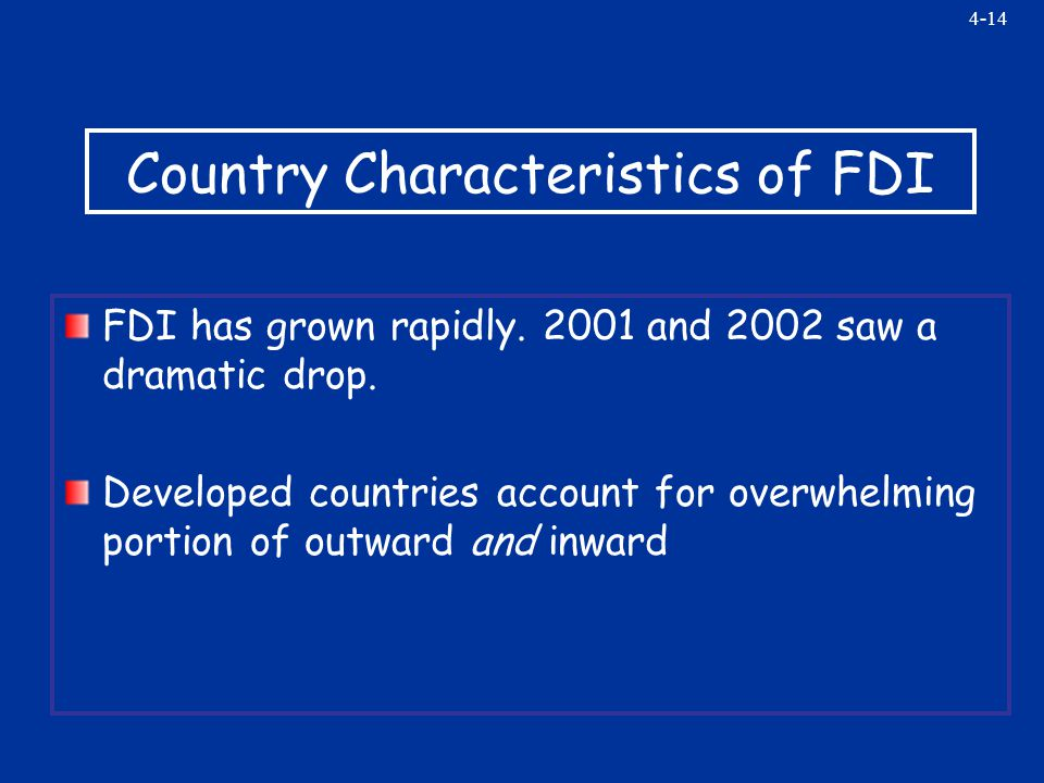 4-14 Country Characteristics of FDI FDI has grown rapidly.