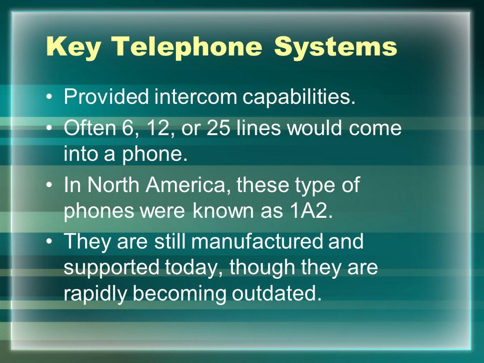 Key Telephone Systems Provided intercom capabilities.