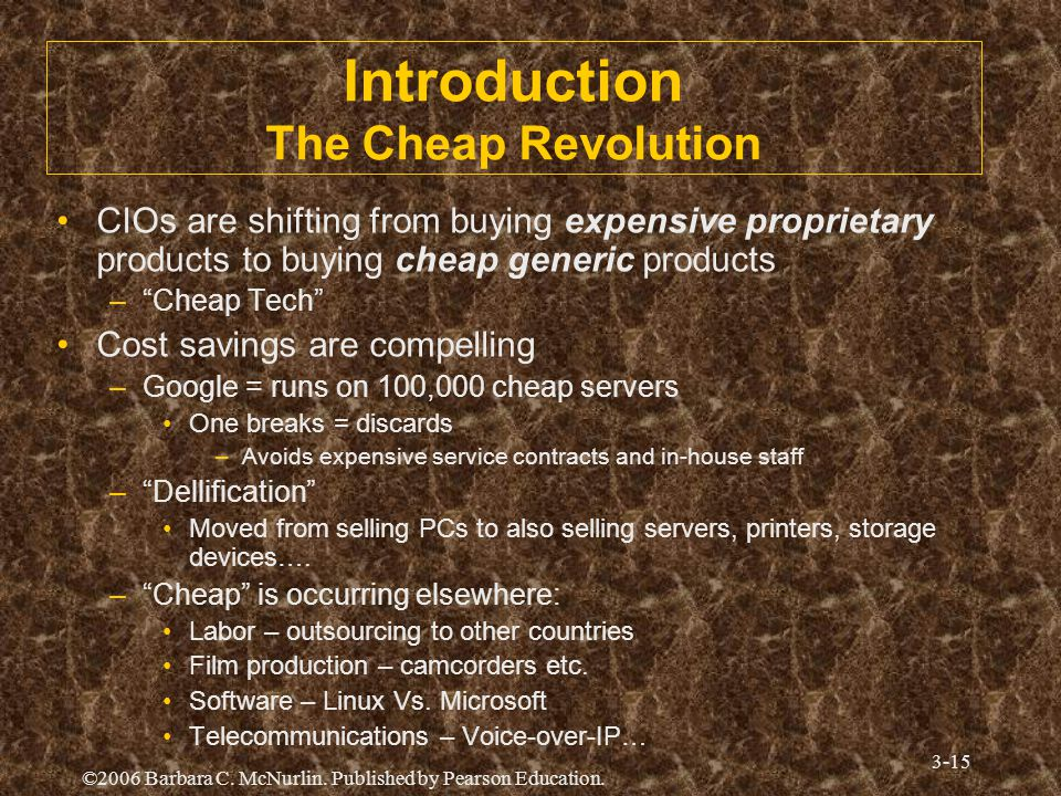 ©2006 Barbara C. McNurlin. Published by Pearson Education. 3-15 Introduction The Cheap Revolution CIOs are shifting from buying expensive proprietary