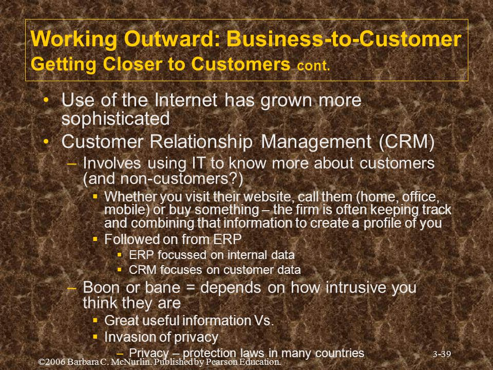 ©2006 Barbara C. McNurlin. Published by Pearson Education. 3-39 Working Outward: Business-to-Customer Getting Closer to Customers cont. Use of the Int