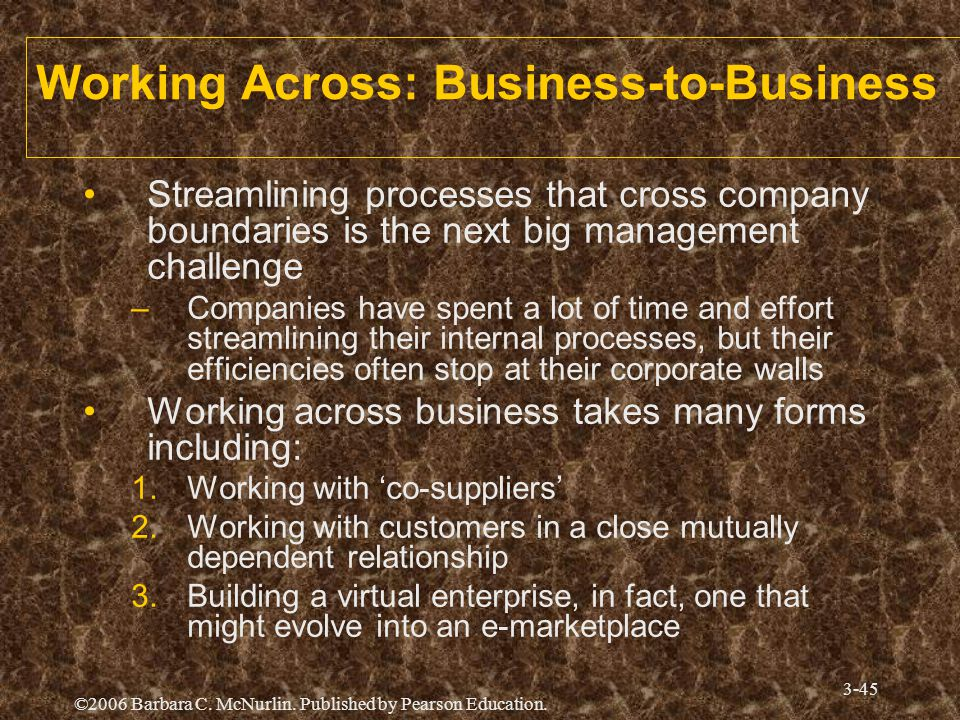 ©2006 Barbara C. McNurlin. Published by Pearson Education. 3-45 Working Across: Business-to-Business Streamlining processes that cross company boundar