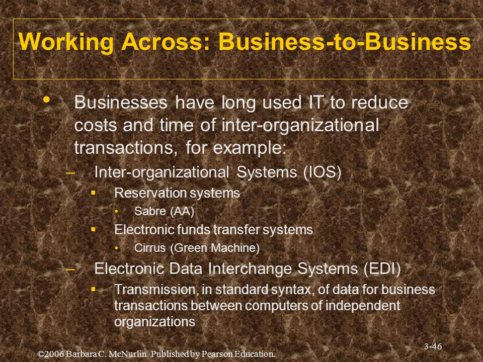 ©2006 Barbara C. McNurlin. Published by Pearson Education. 3-46 Working Across: Business-to-Business Businesses have long used IT to reduce costs and