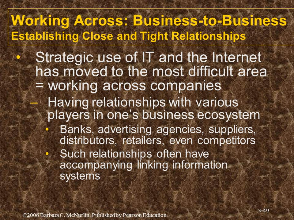 ©2006 Barbara C. McNurlin. Published by Pearson Education. 3-49 Working Across: Business-to-Business Establishing Close and Tight Relationships Strate