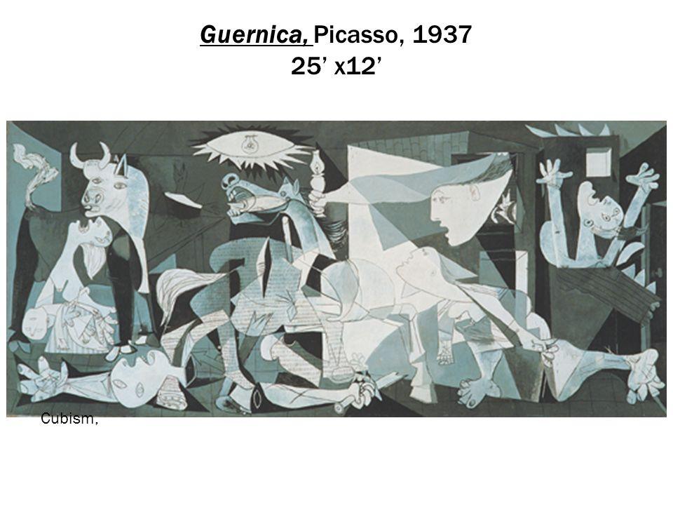 Guernica, Picasso, 1937 25' x12' Cubism,
