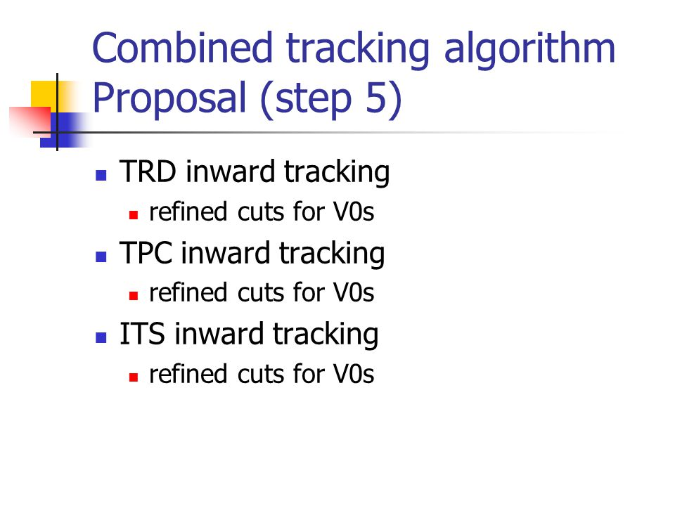 Combined tracking algorithm Proposal (step 5) TRD inward tracking refined cuts for V0s TPC inward tracking refined cuts for V0s ITS inward tracking re