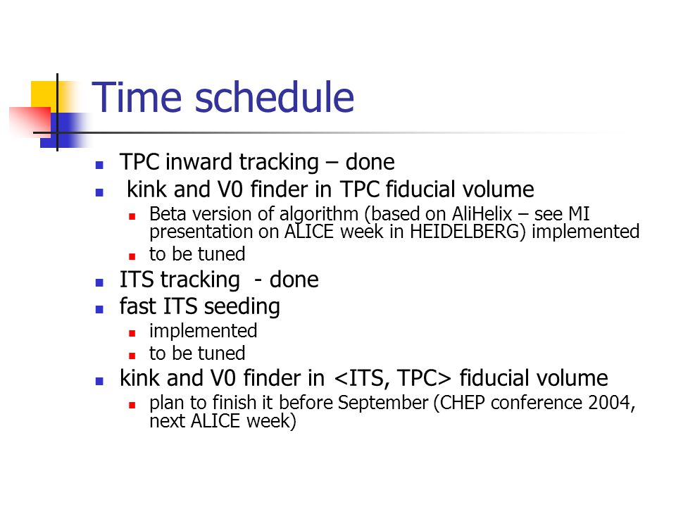 Time schedule TPC inward tracking – done kink and V0 finder in TPC fiducial volume Beta version of algorithm (based on AliHelix – see MI presentation on ALICE week in HEIDELBERG) implemented to be tuned ITS tracking - done fast ITS seeding implemented to be tuned kink and V0 finder in fiducial volume plan to finish it before September (CHEP conference 2004, next ALICE week)