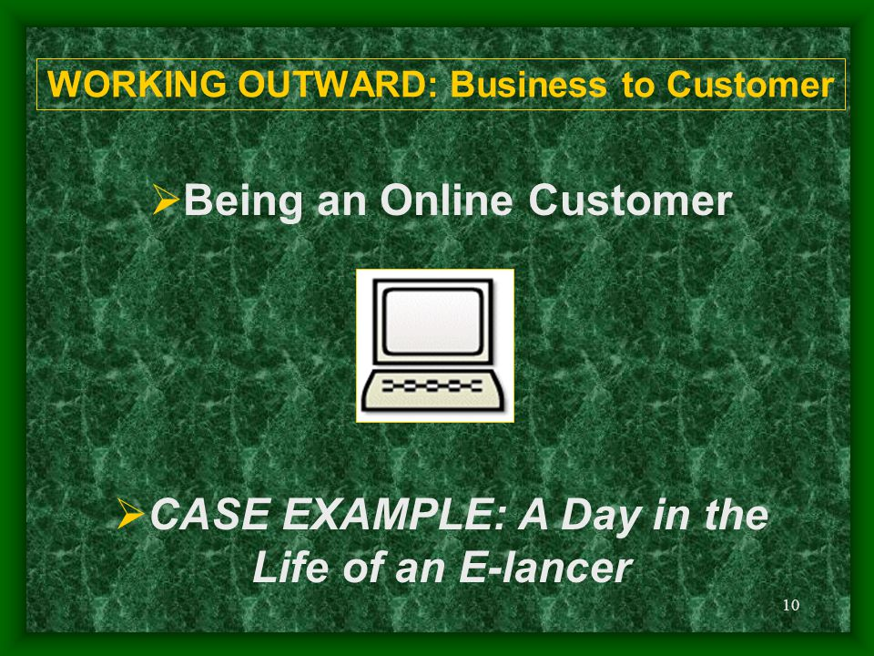 10 WORKING OUTWARD: Business to Customer  Being an Online Customer  CASE EXAMPLE: A Day in the Life of an E-lancer