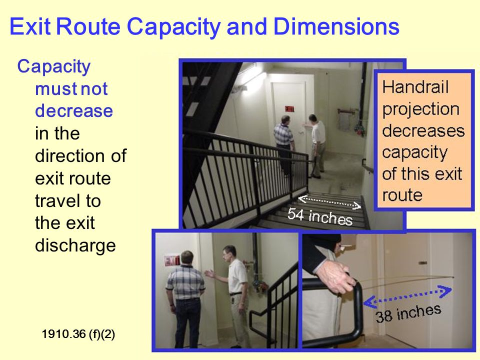 Exit Route Capacity and Dimensions Must support the maximum permitted occupant load for each floor served 1910.36 (f)(1) See factors for occupant load