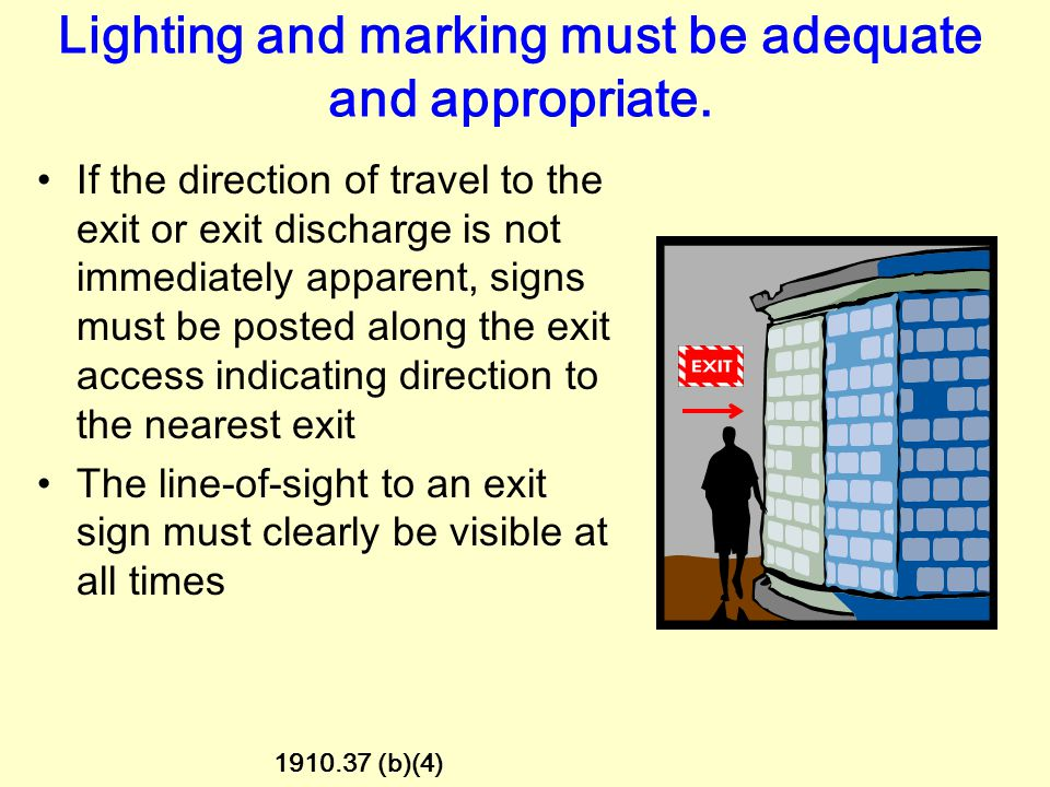 Lighting and marking must be adequate and appropriate. Each exit route door must be free of decorations or signs that obscure the visibility of the do