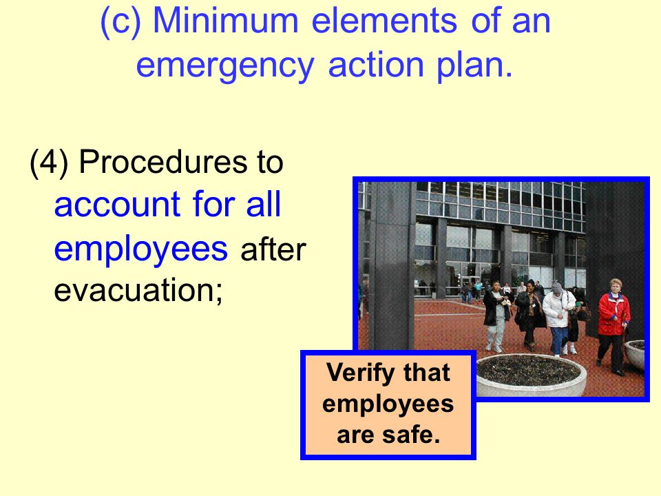 (c) Minimum elements of an emergency action plan. (3) Procedures to be followed by employees who remain to operate critical plant operations before th
