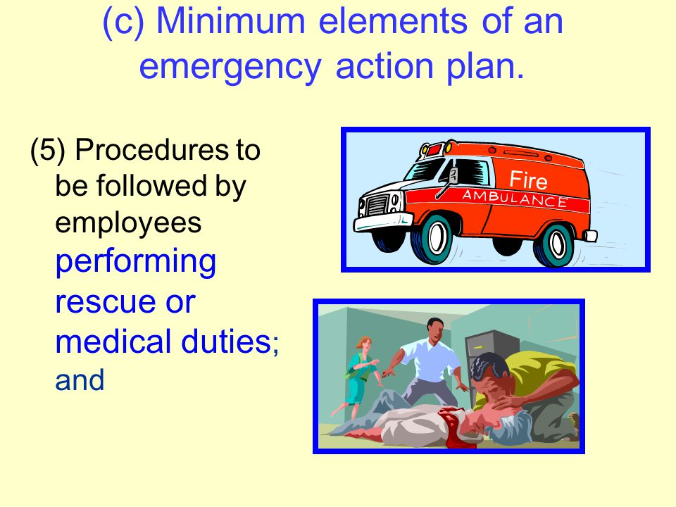 (c) Minimum elements of an emergency action plan. (4) Procedures to account for all employees after evacuation; Verify that employees are safe.