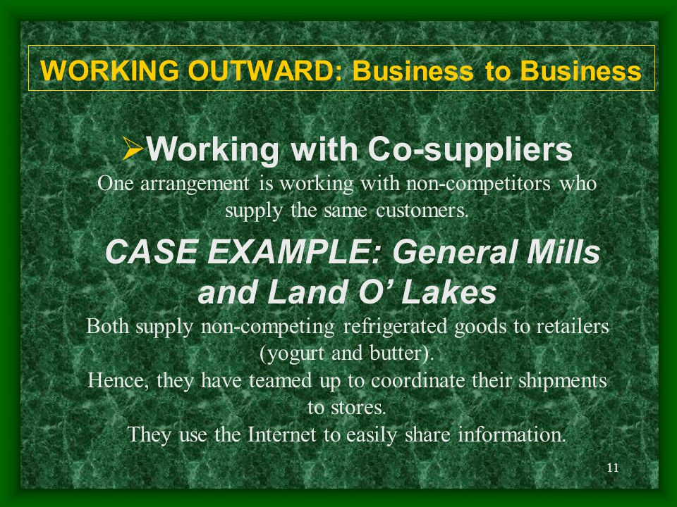 11 WORKING OUTWARD: Business to Business  Working with Co-suppliers One arrangement is working with non-competitors who supply the same customers.
