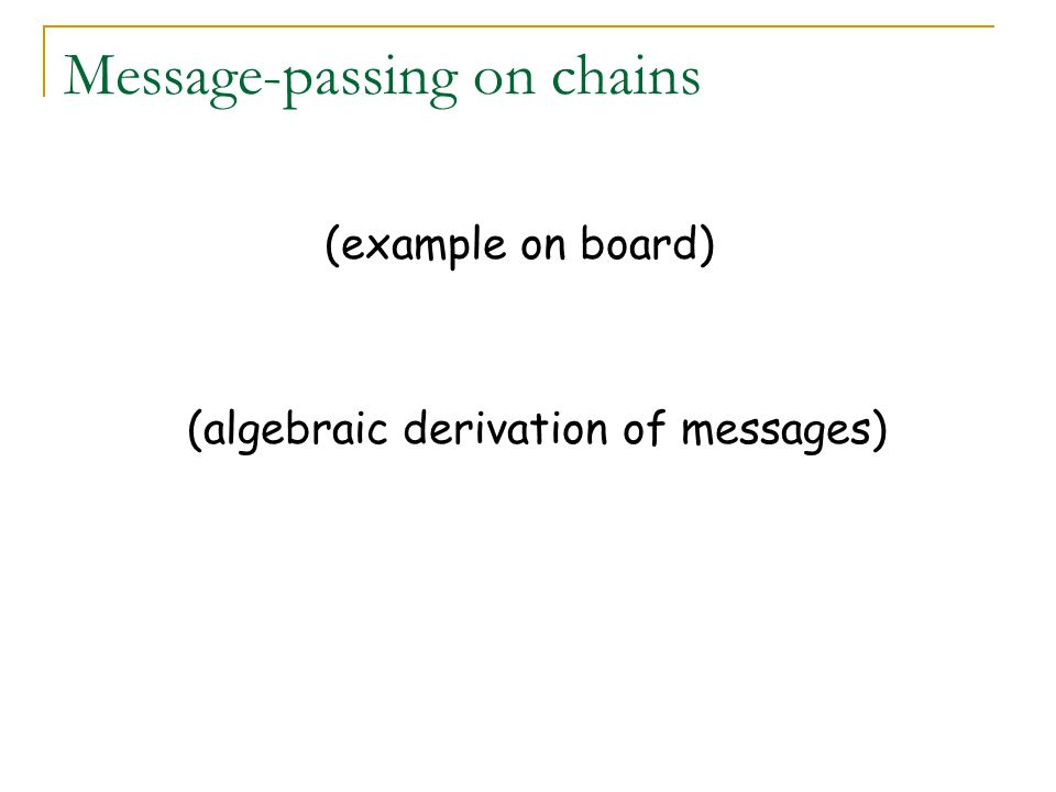 Message-passing on chains (example on board) (algebraic derivation of messages)