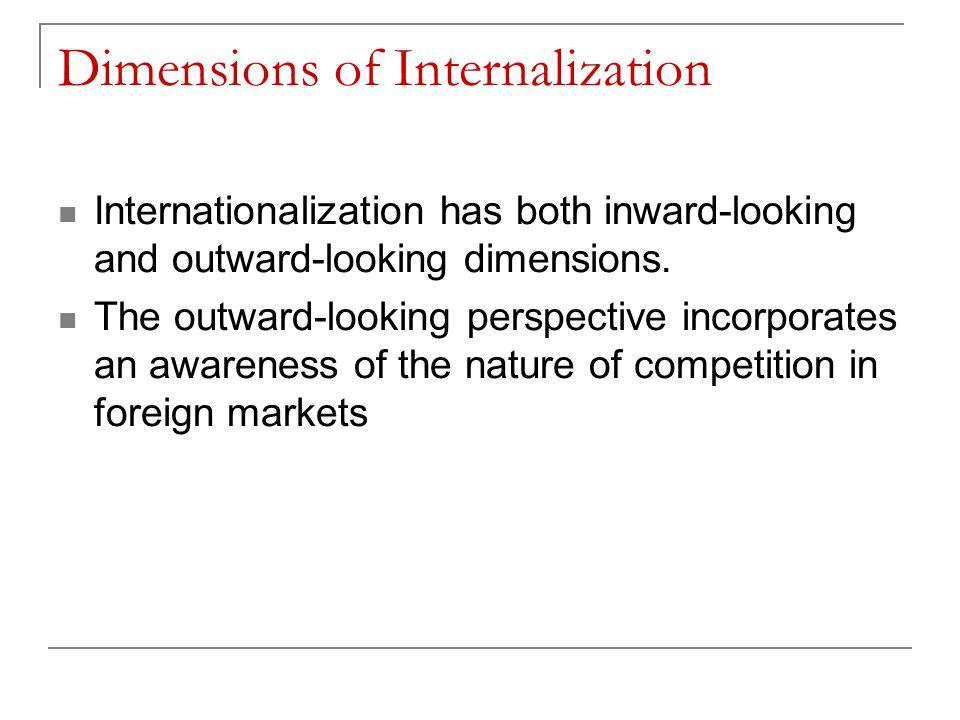 Dimensions of Internalization Internationalization has both inward-looking and outward-looking dimensions. The outward-looking perspective incorporate