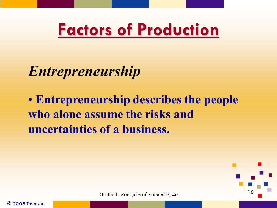 © 2005 Thomson Gottheil - Principles of Economics, 4e 10 Factors of Production Entrepreneurship Entrepreneurship describes the people who alone assume the risks and uncertainties of a business.