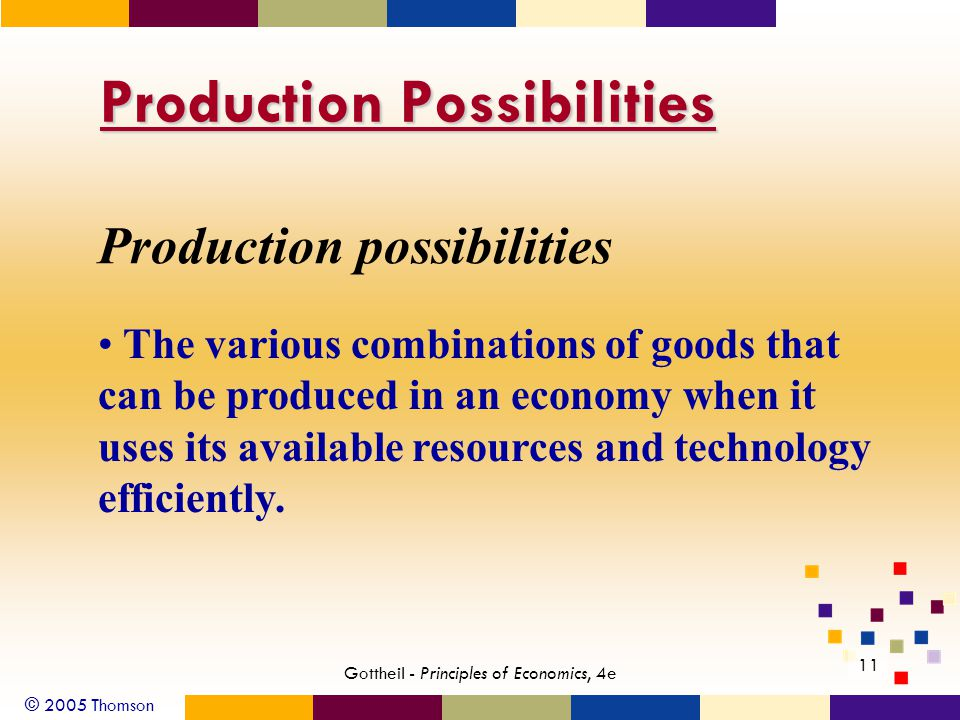 © 2005 Thomson Gottheil - Principles of Economics, 4e 11 Production Possibilities Production possibilities The various combinations of goods that can be produced in an economy when it uses its available resources and technology efficiently.