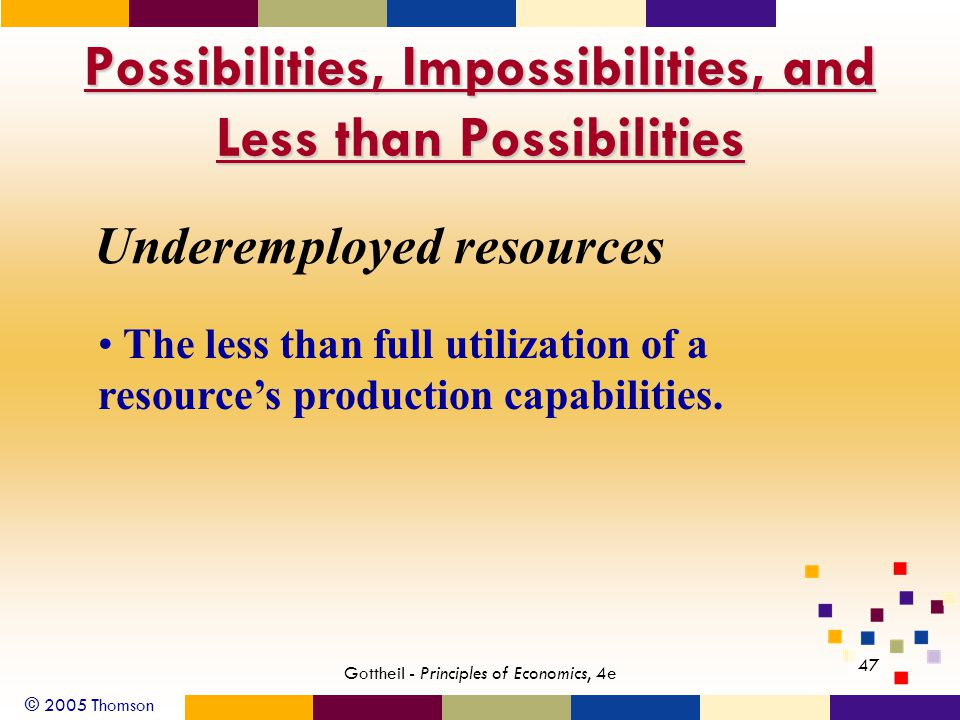 © 2005 Thomson Gottheil - Principles of Economics, 4e 47 Possibilities, Impossibilities, and Less than Possibilities Underemployed resources The less than full utilization of a resource's production capabilities.