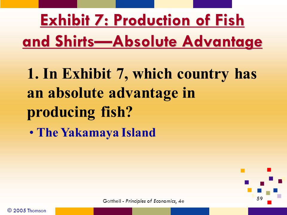 © 2005 Thomson Gottheil - Principles of Economics, 4e 59 Exhibit 7: Production of Fish and Shirts—Absolute Advantage 1.