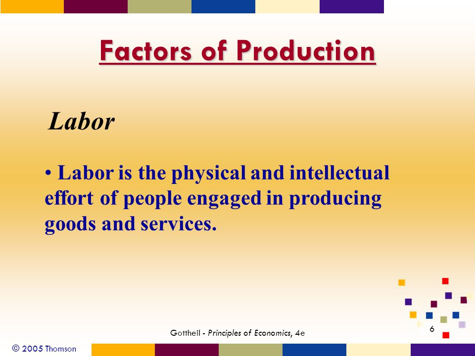© 2005 Thomson Gottheil - Principles of Economics, 4e 6 Factors of Production Labor Labor is the physical and intellectual effort of people engaged in producing goods and services.