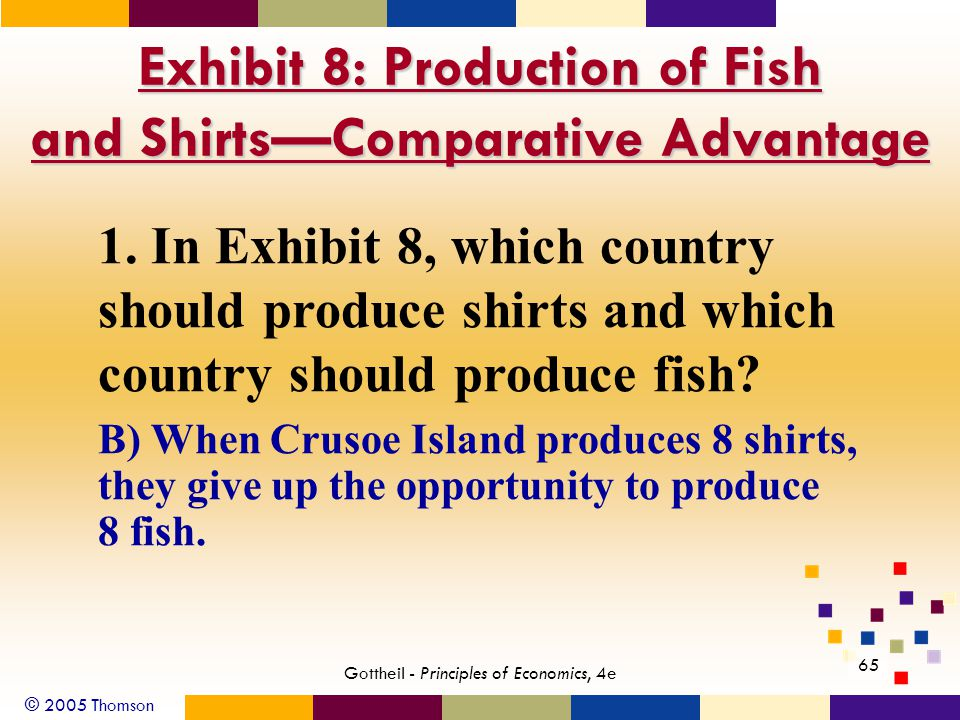 © 2005 Thomson Gottheil - Principles of Economics, 4e 65 B) When Crusoe Island produces 8 shirts, they give up the opportunity to produce 8 fish.