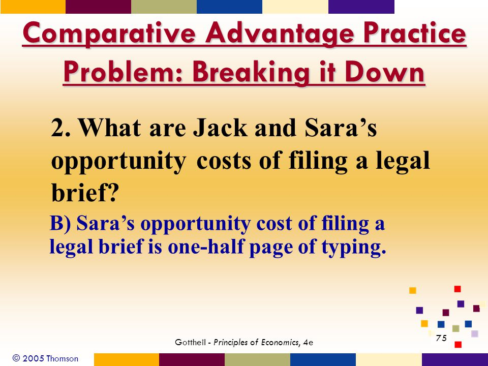 © 2005 Thomson Gottheil - Principles of Economics, 4e 75 B) Sara's opportunity cost of filing a legal brief is one-half page of typing.