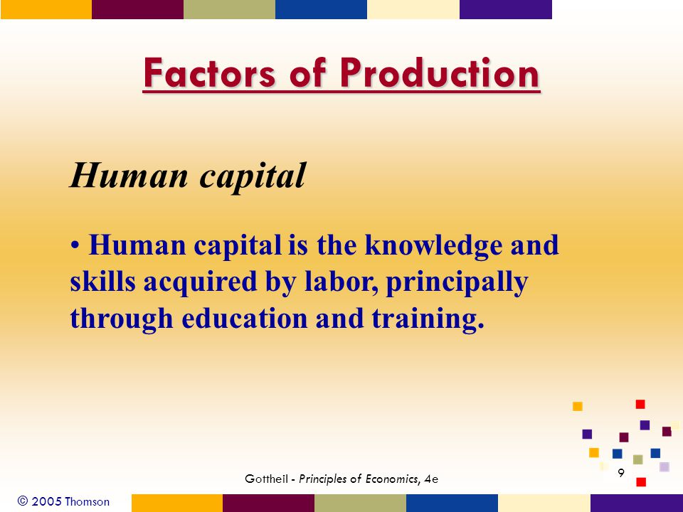 © 2005 Thomson Gottheil - Principles of Economics, 4e 9 Factors of Production Human capital Human capital is the knowledge and skills acquired by labor, principally through education and training.
