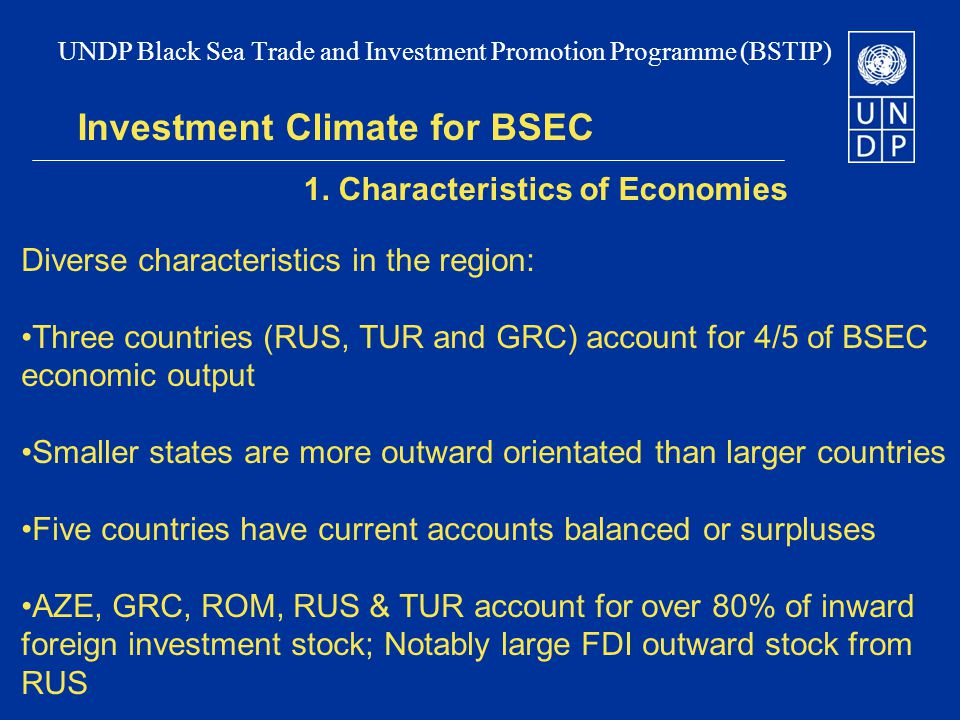 Investment Climate for BSEC 1.