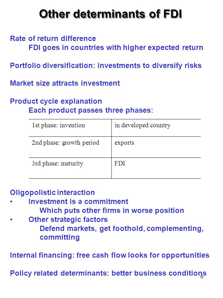 6 1st phase: inventionin developed country 2nd phase: growth periodexports 3rd phase: maturityFDI Other determinants of FDI Rate of return difference FDI goes in countries with higher expected return Portfolio diversification: investments to diversify risks Market size attracts investment Product cycle explanation Each product passes three phases: Oligopolistic interaction Investment is a commitment Which puts other firms in worse position Other strategic factors Defend markets, get foothold, complementing, committing Internal financing: free cash flow looks for opportunities Policy related determinants: better business conditions