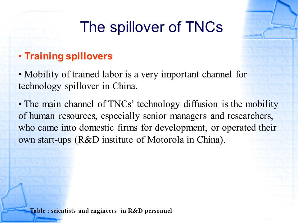 The spillover of TNCs Table : scientists and engineers in R&D personnel Training spillovers Mobility of trained labor is a very important channel for