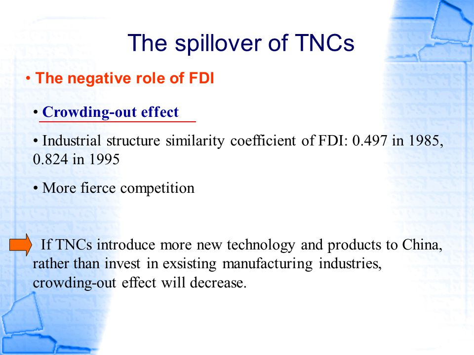 The spillover of TNCs The negative role of FDI Crowding-out effect Industrial structure similarity coefficient of FDI: 0.497 in 1985, 0.824 in 1995 Mo