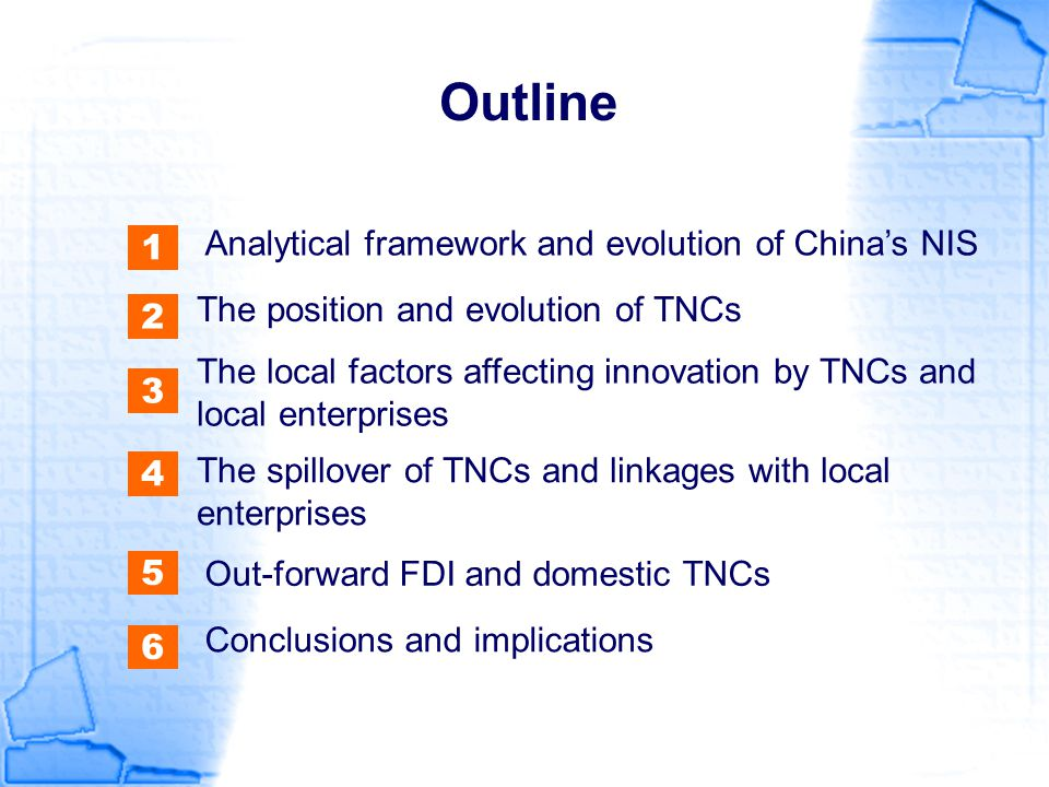 Local factors affecting innovation by TNCs Government policies towards TNCs YearStagePolicy Main Sources of FDI Industry distribution of FDI 1979- 1985 Prudent Gradual opening-up and accumulation of experience Hong Kong, Macao, main SMEs The tertiary industry, textile and Clothing 1986- 1992 Active Encouraging exportation and introducing technologies Taiwan, Japan and South Korea Middle and large-scale projects including energy, transportation, electronics and machinery 1993- 2000 Adjusted FDI industrial adjustment, emphasis on technologies, talents and managerial experience Large-scale TNCs of the Asia, U.S.