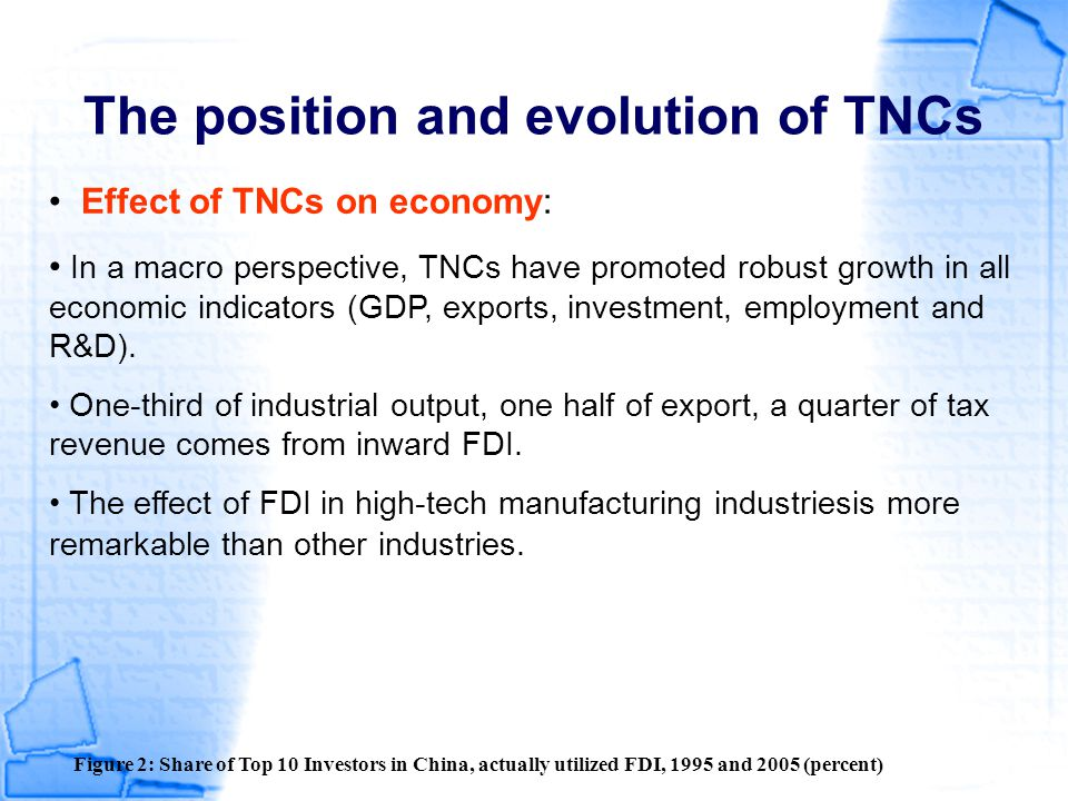 The position and evolution of TNCs Effect of TNCs on economy Table : The importance of Foreign Investment Enterprises in Chinese high tech industries, 2004, (Percent) Source: Lundin et al., 2006 Added value ExportEmploymentR&D expenditure R&D employees Technology import pharmaceuticals232116221420 Electronics and telecom819373423893 Computer and office equipments959991826499 Medical equipments and instruments558836271933 Foreign firms import high-tech components (e.g.