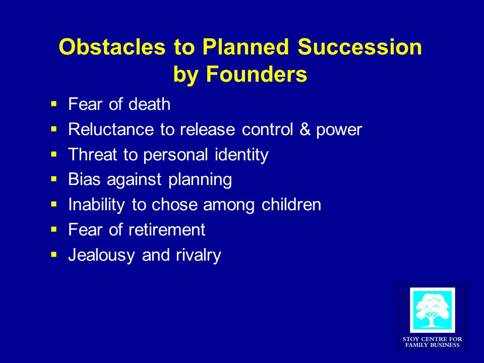 Obstacles to Planned Succession by Founders  Fear of death  Reluctance to release control & power  Threat to personal identity  Bias against plann