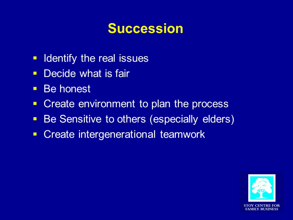 Succession  Identify the real issues  Decide what is fair  Be honest  Create environment to plan the process  Be Sensitive to others (especially