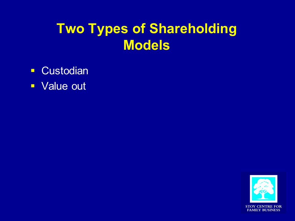 Two Types of Shareholding Models  Custodian  Value out